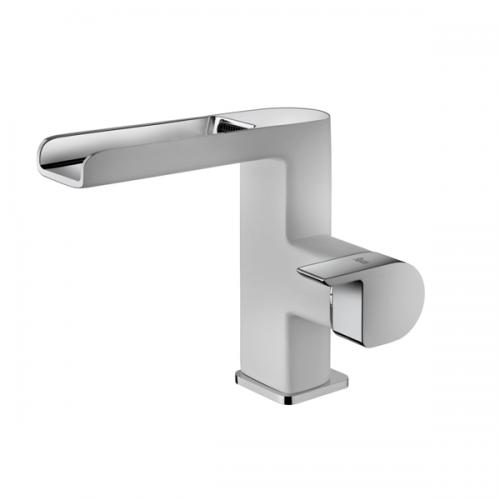 Monomando lavabo cascada abierto Blanco